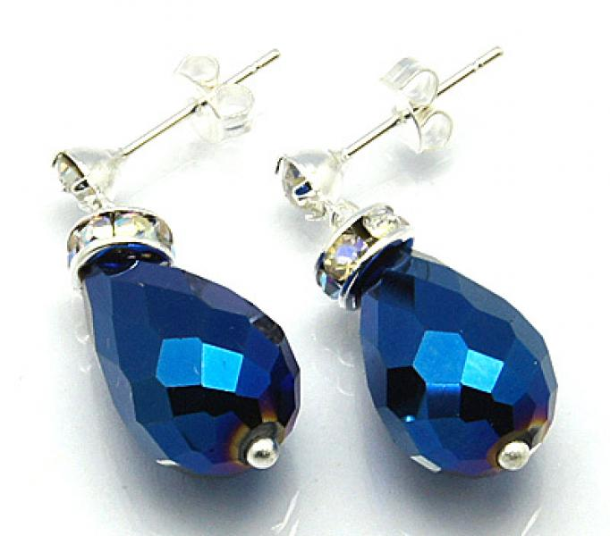 Royal Blue Sparkling Facetted Crystal Earrings